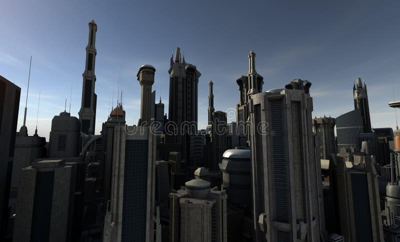 futuristic stad royaltyfri illustrationer