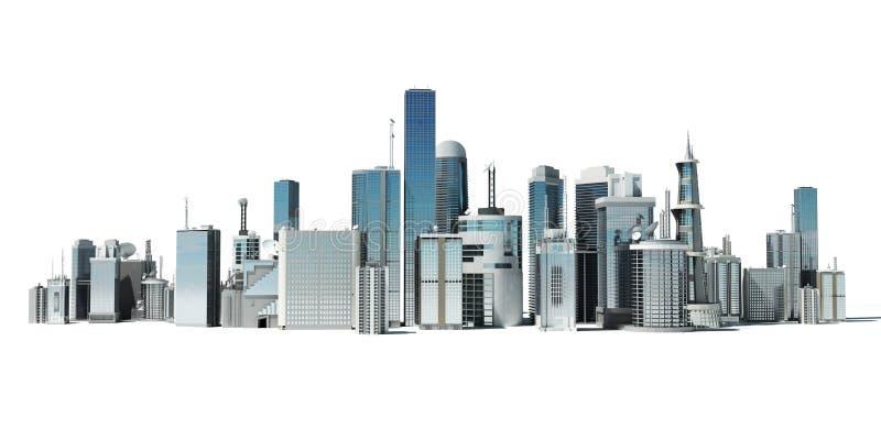 futuristic stad stock illustrationer