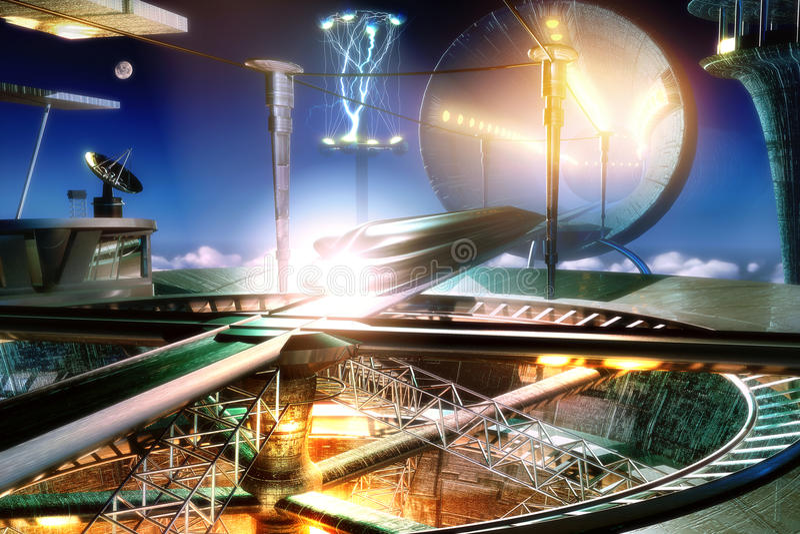 futuristic stationsdrev vektor illustrationer
