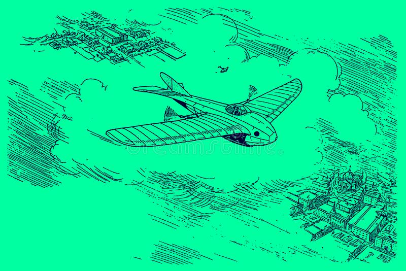 Futuristic study from the early 20th century of a monoplane aircraft flying over a city at high altitude. Illustration on a green. Background. Editable in royalty free illustration