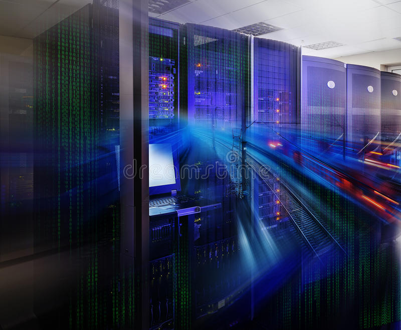 Futuristic supercomputer cluster in the data center with the railway lines and binary code. Futuristic supercomputer cluster in data center with the railway stock photography