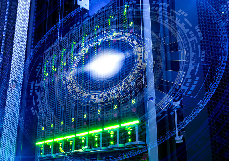 Futuristic tech scheme on background of fantastic symmetric number mainframes stock photo