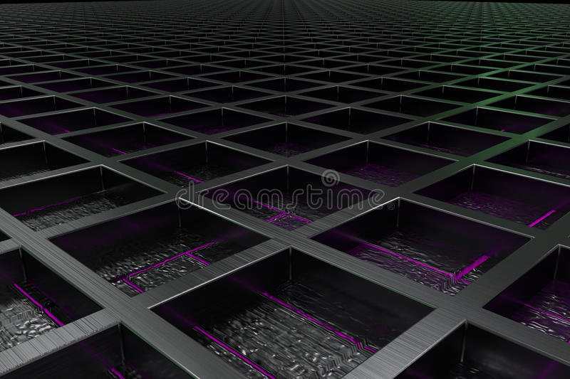 Futuristic technological or industrial background made from brushed metal grate with glowing lines and elements. Abstract background. 3D rendering illustration royalty free illustration