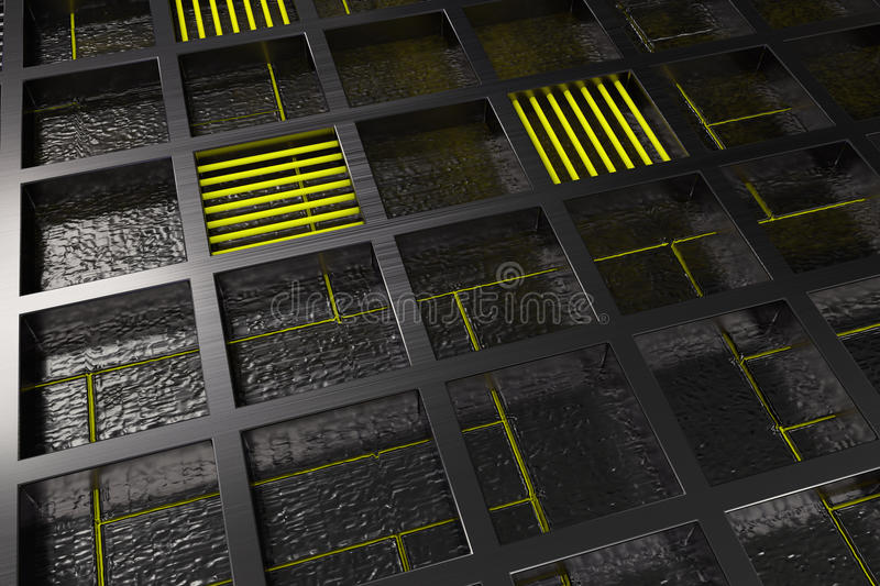 Futuristic technological or industrial background made from brushed metal grate with glowing lines and elements. Abstract background. 3D rendering illustration stock illustration