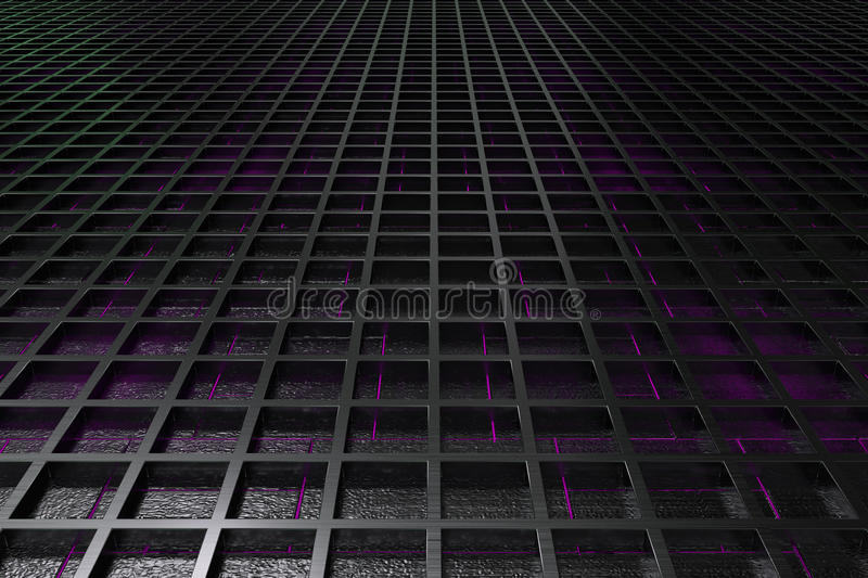 Futuristic technological or industrial background made from brushed metal grate with glowing lines and elements. Abstract background. 3D rendering illustration vector illustration
