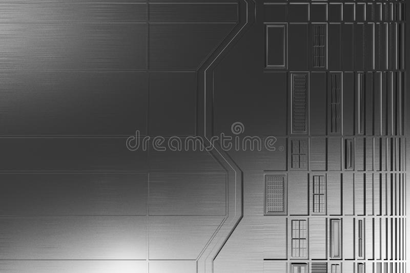 Futuristic technological or industrial background made from brushed metal shapes with glowing lines and elements. Abstract background. 3D rendering stock illustration