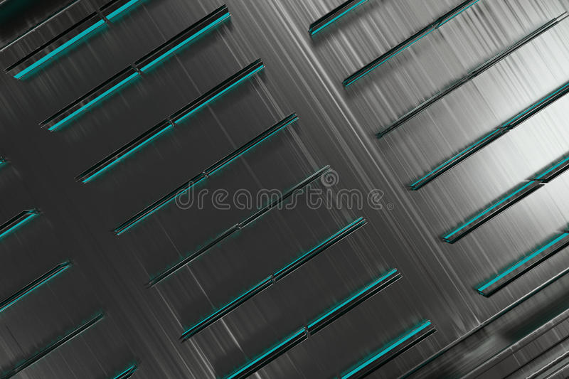 Futuristic technological or industrial background made from brushed metal shapes with glowing lines and elements. Abstract background. 3D rendering vector illustration