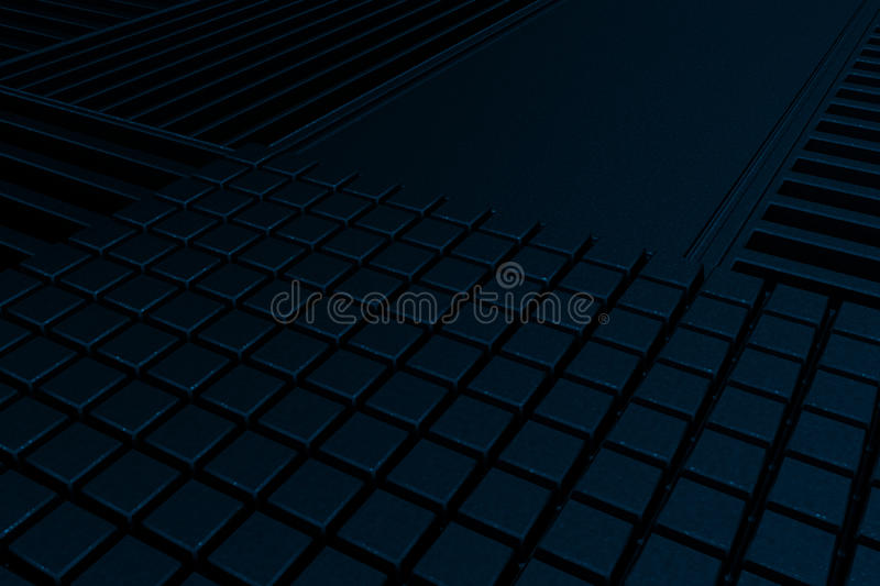 Futuristic technological or industrial background made from metal grates and extruded elements. Abstract background. 3D rendering illustration vector illustration