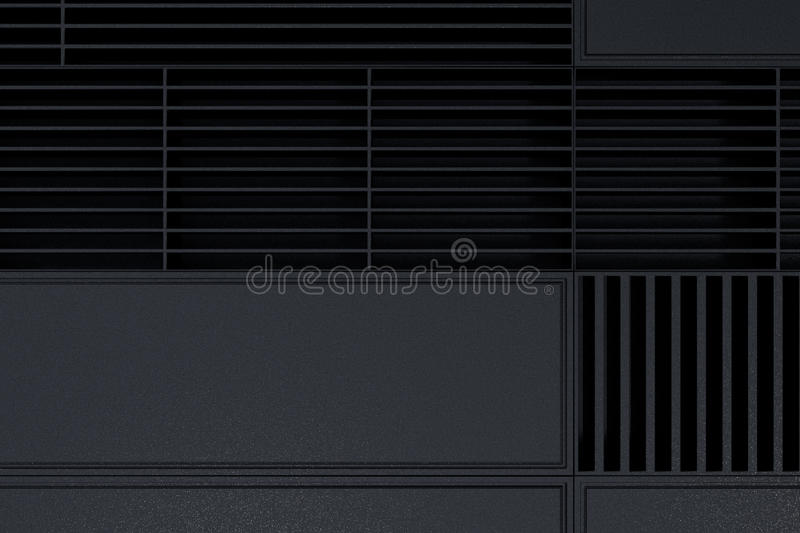 Futuristic technological or industrial background made from metal grates and extruded elements. Abstract background. 3D rendering illustration royalty free illustration