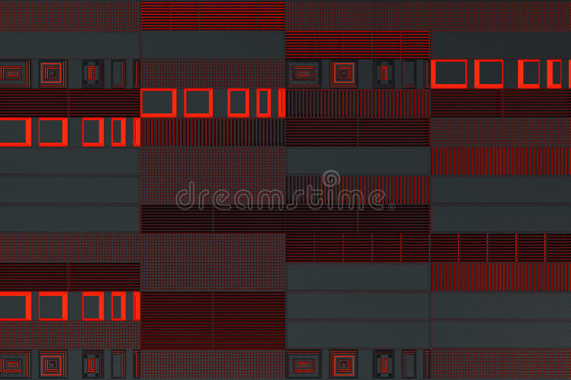 Futuristic technological or industrial background made from metal grates with glowing lines and elements. Abstract background. 3D rendering illustration royalty free illustration