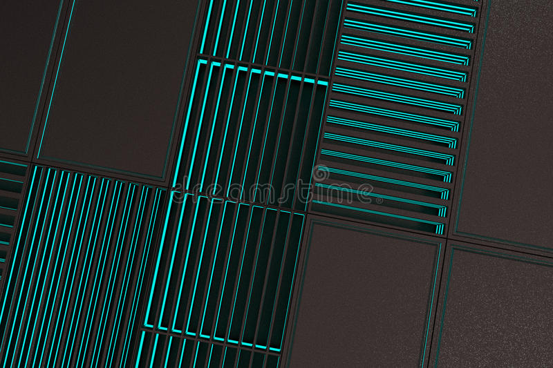 Futuristic technological or industrial background made from metal grates with glowing lines and elements. Abstract background. 3D rendering illustration stock illustration