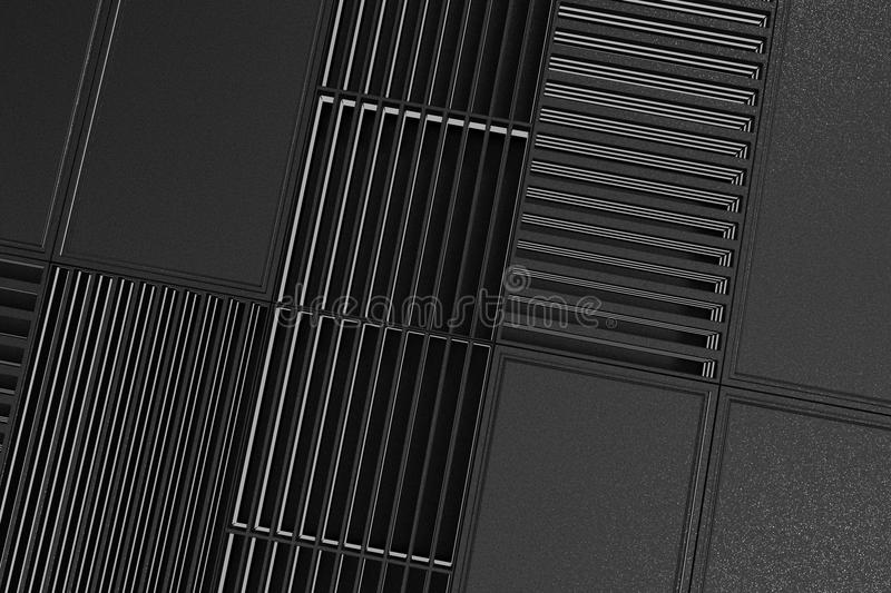 Futuristic technological or industrial background made from metal grates with glowing lines and elements. Abstract background. 3D rendering illustration vector illustration