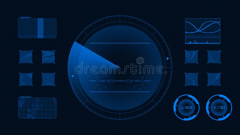 Futuristic technological interface. Blue background GUI. Technology Interface Computer Data Screen. Graphical User Interface vector illustration
