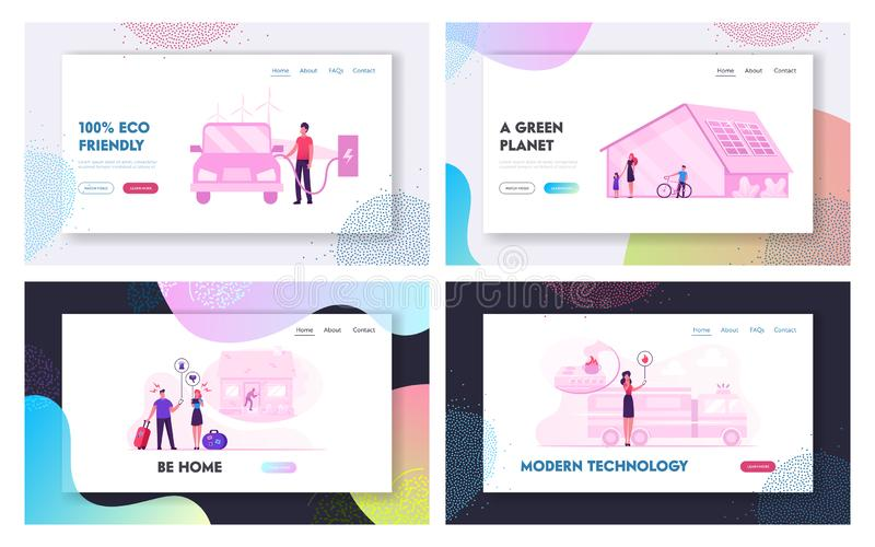 Futuristic Technologies for Home. Website Landing Page Set. Man Charging Electric Car. House with Solar Panels vector illustration