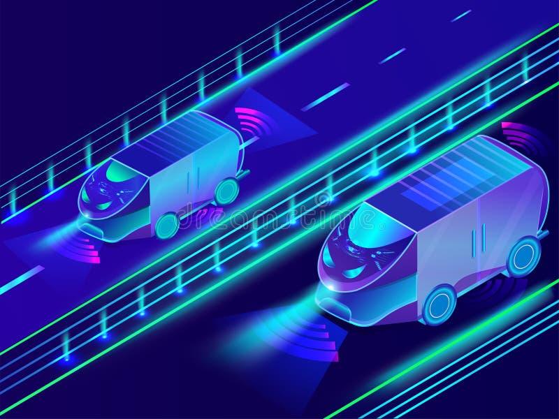 Futuristic technology of autonomous vehicle, automotive bus on u. Rban landscape background vector illustration