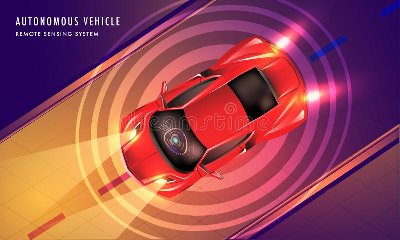Futuristic technology concept based landing page design with top. View of smart car on urban landscape background for Autonomous Vehicle concept vector illustration