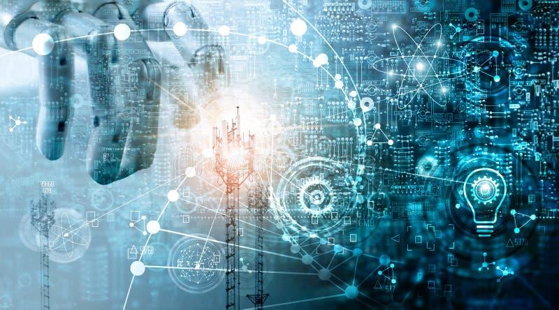 Futuristic technology concept, Innovations data systems. Futuristic technology concept, Mixed media, Innovations data systems connecting people and robots stock illustration