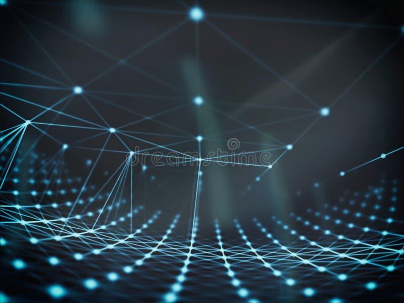 Futuristic technology cyber sphere connection world network, computer, fiber virtual optic cables, fibre connection. Technology connection background art on stock illustration