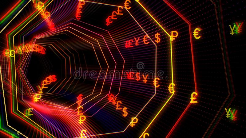 Futuristic technology cyberspace tunnel with currency stream illustration stock illustration