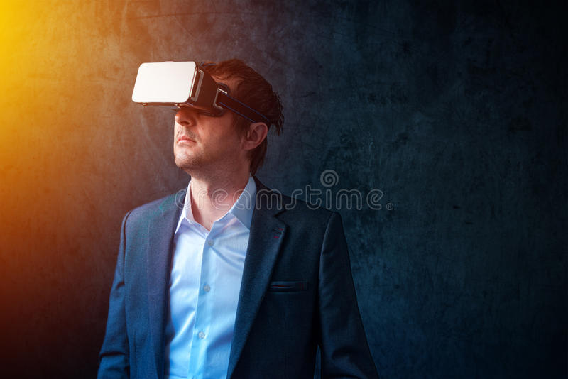 Futuristic technology in modern business, businessman with VR he stock photos