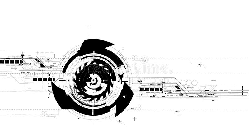 Futuristic technology production. Complex vector illustration of futuristic technology background. Usable as a decent additional element for your graphical needs royalty free illustration