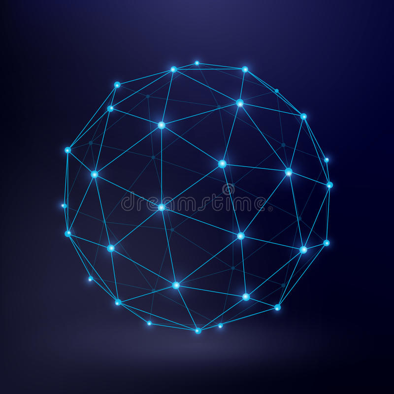 Futuristic technology vector background with wireframe connection circle graphic royalty free illustration
