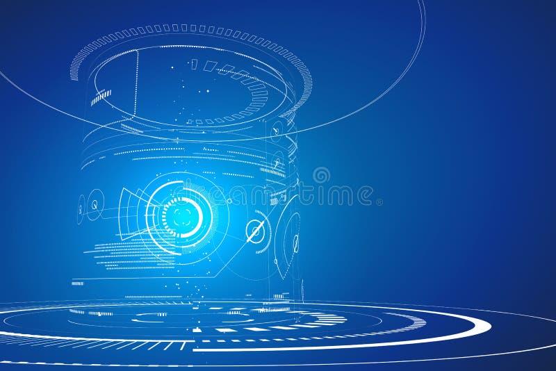 Futuristic three-dimensional interface, abstract graphic design. vector illustration