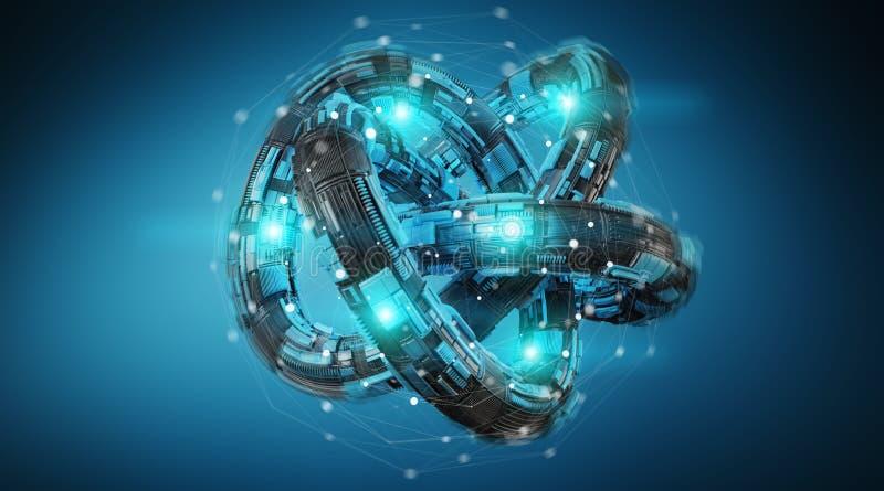 Futuristic torus technology textured object 3D rendering stock illustration
