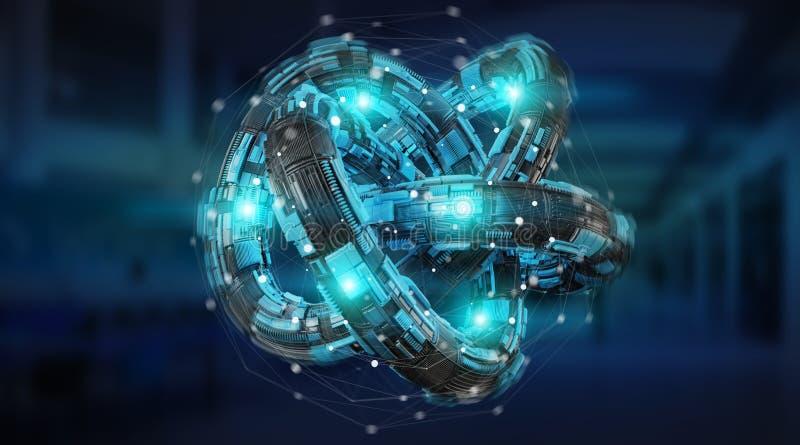 Futuristic torus technology textured object 3D rendering. Futuristic torus technology textured object on blue server background 3D rendering stock illustration