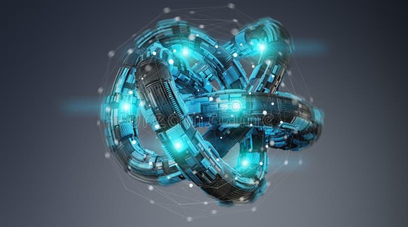 Futuristic torus technology textured object 3D rendering royalty free illustration