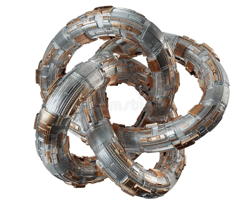 Futuristic torus technology textured object 3D rendering. Futuristic torus technology textured object on white background 3D rendering vector illustration