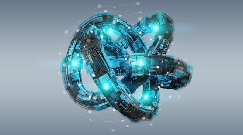 Futuristic torus technology textured object 3D rendering vector illustration