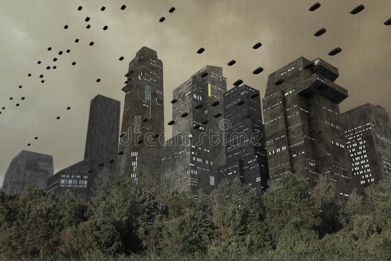 Futuristic towers of a modern city stock illustration