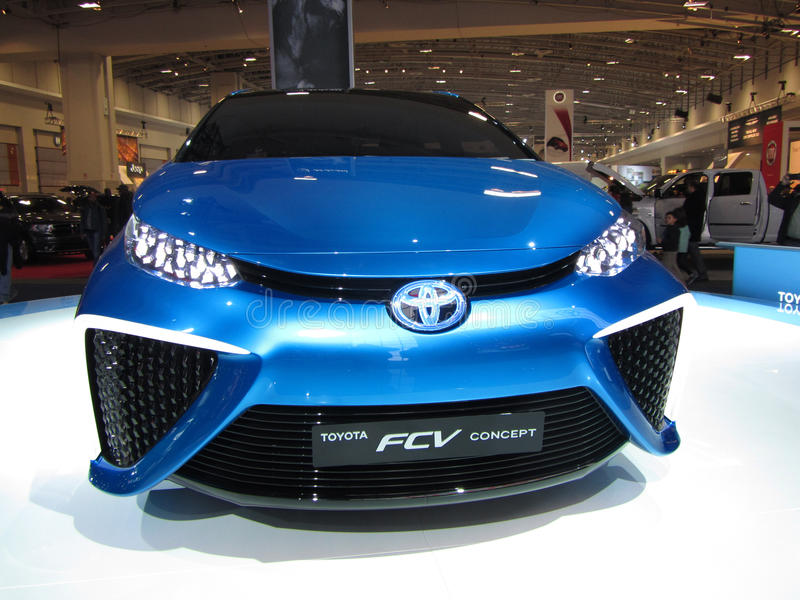 Futuristic Toyota FCV. Photo of toyota fcv auto at the washington dc auto show in washington dc on 1/25/14. The toyota fcv is a fuel cell car that will go on stock photos