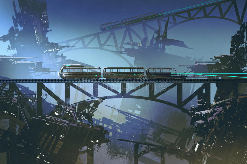 Futuristic train on railway and bridge in abandoned city stock illustration