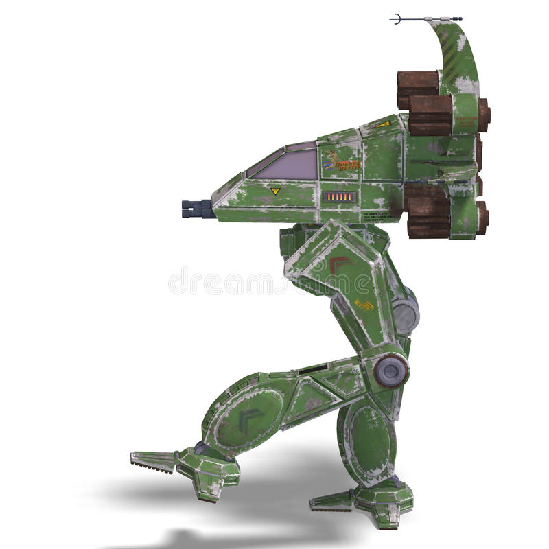 Download Futuristic Transforming Scifi Robot And Spaceship Stock Illustration - Illustration: 10877711