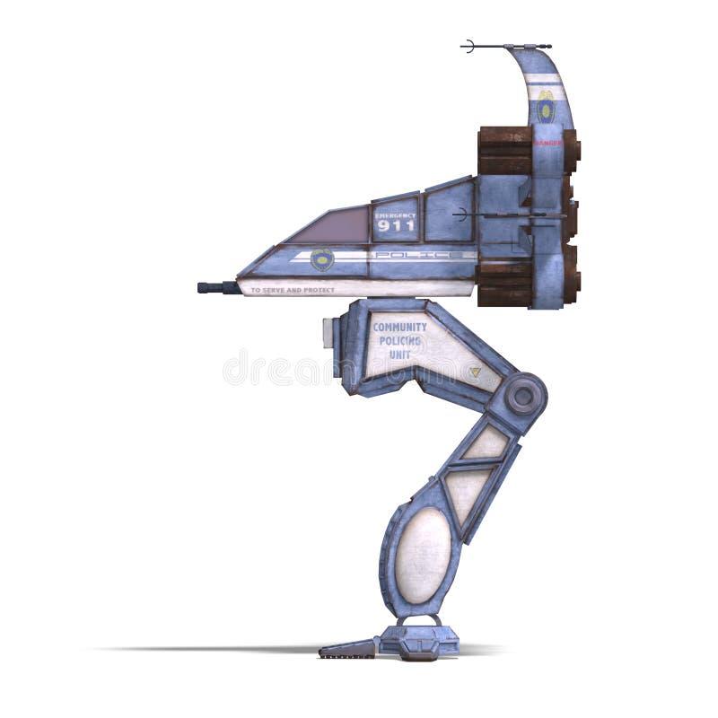 Futuristic Transforming Scifi Robot And Spaceship Royalty Free Stock Photos
