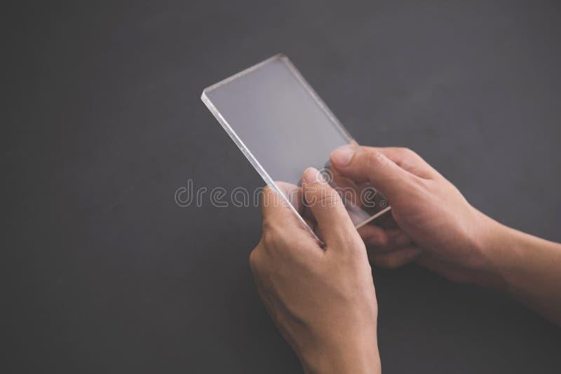 Futuristic transparent cell phone mock up stock photo