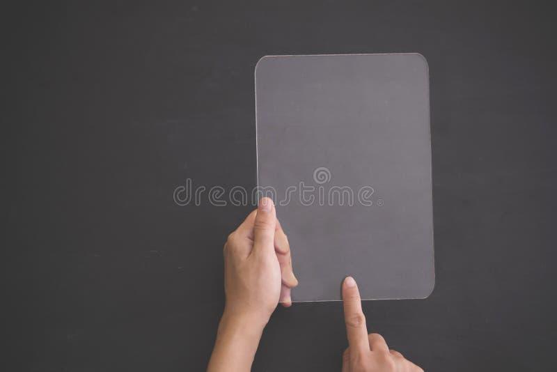 Futuristic transparent tablet mock up stock images