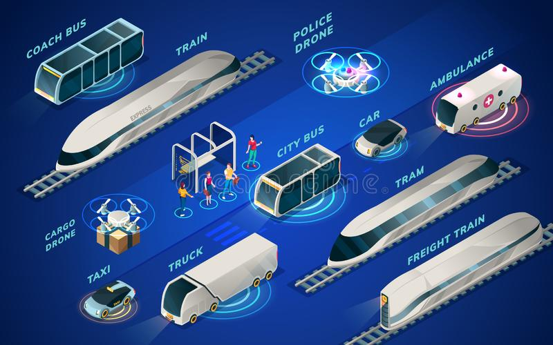 Futuristic transport or smart city isometric icons royalty free illustration