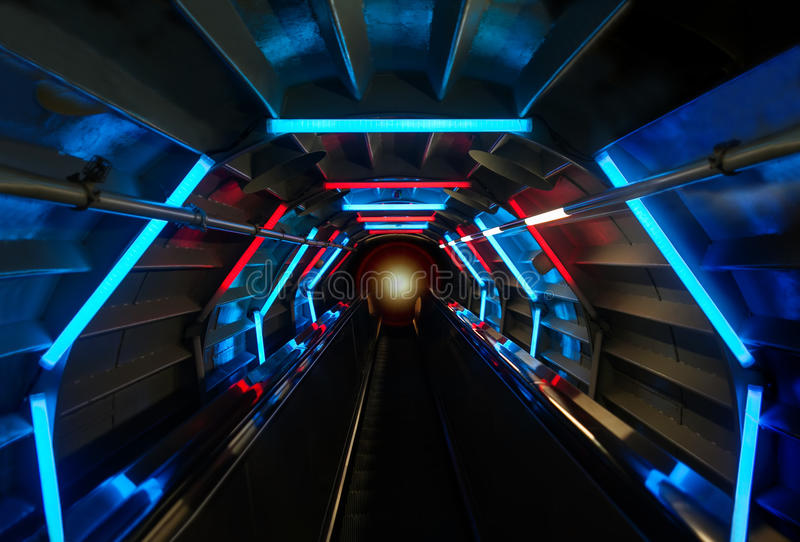 Futuristic Tunnel Background With Blue And Red Glowing