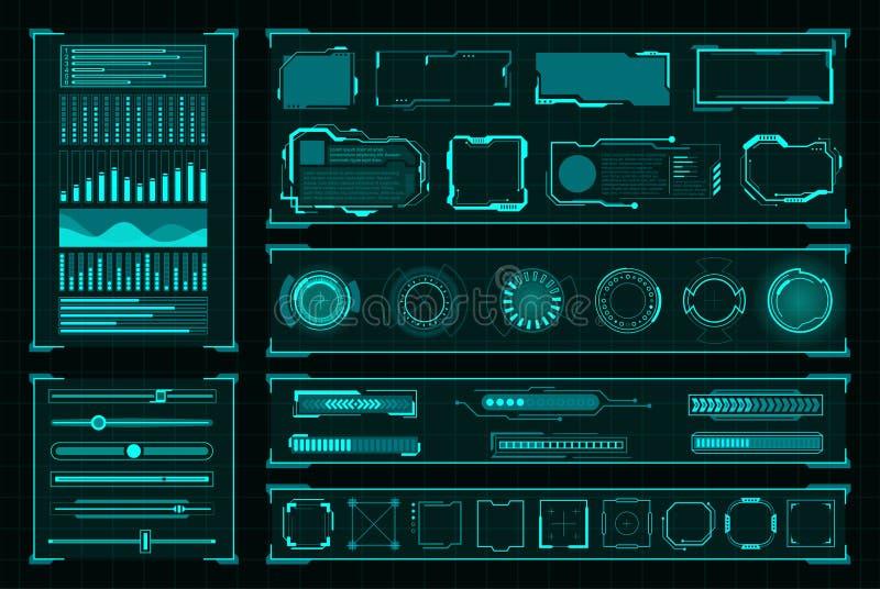 Futuristic user interface digital design on black. Futuristic user interface. Modern technology and design computer futurism decoration. Vector illustration on vector illustration