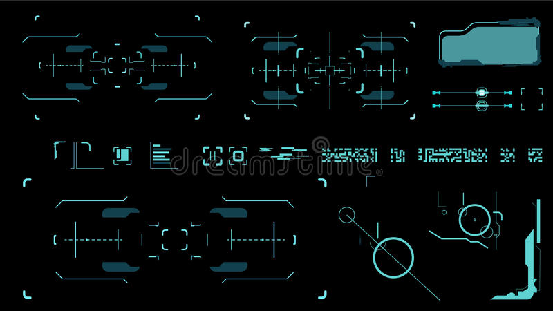 Futuristic user interface. Element user interface. Blue elements vector illustration