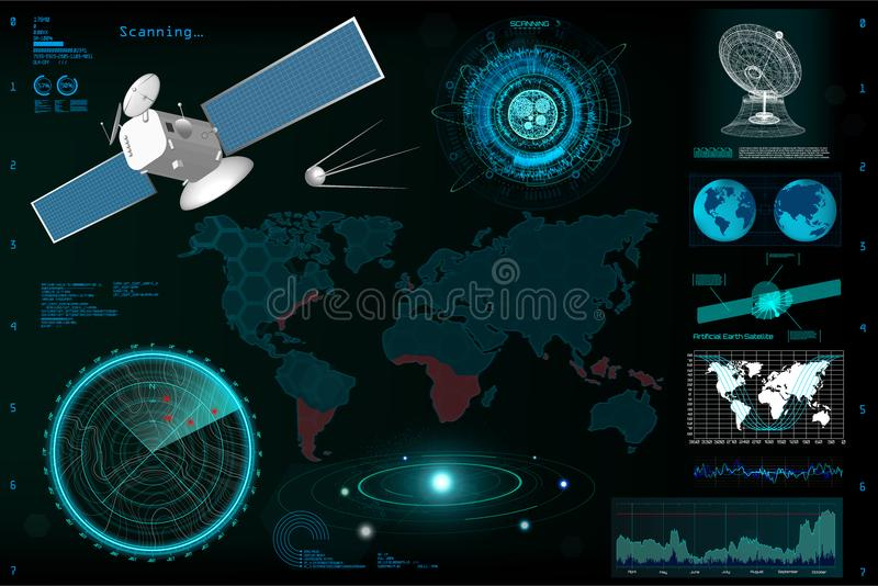 Futuristic User Interface, elements template HUD. Earth map, satellite, satellite dish, radar, solar system, communication, broadcast data and statistic. HUD stock illustration