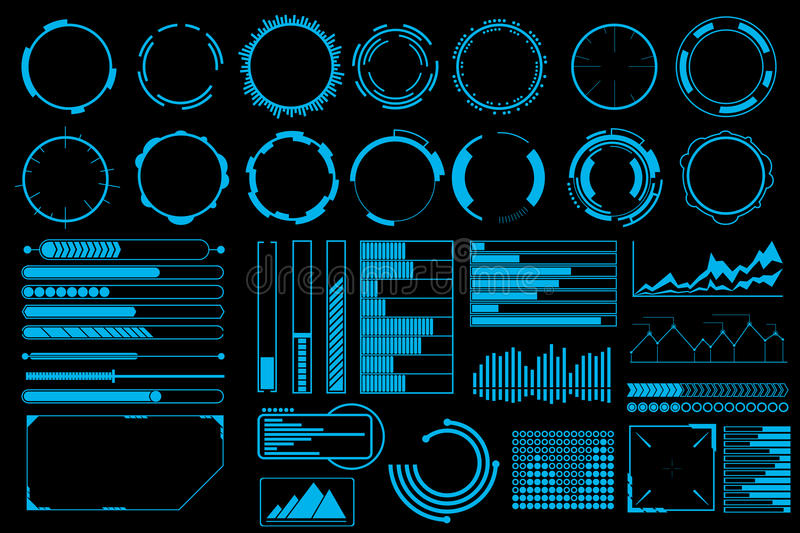 Futuristic user interface elements vector set royalty free illustration