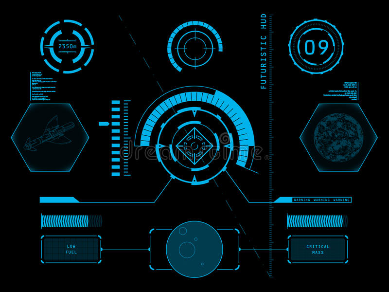 Futuristic user interface HUD. Futuristic blue virtual graphic touch user interface HUD