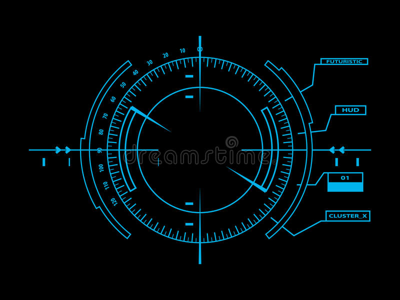 Futuristic user interface HUD. Abstract futuristic style graphic user interface vector illustration