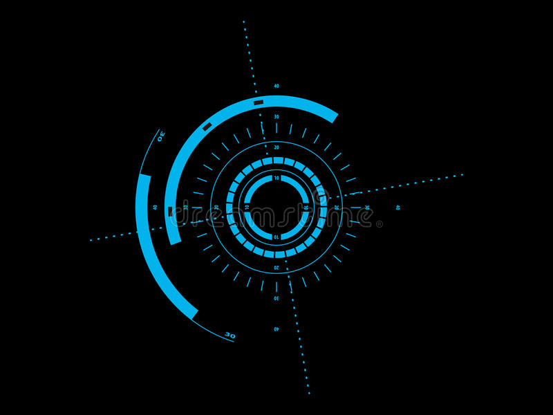 Futuristic user interface HUD. Abstract futuristic style graphic user interface stock illustration