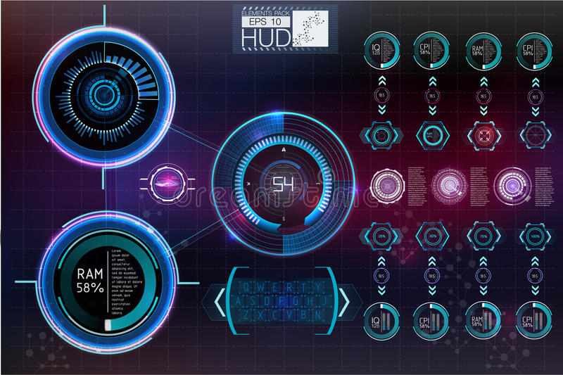 Futuristic user interface.HUD background outer space. Infographic elements. Digital data, business abstract background. Infographic elements stock illustration