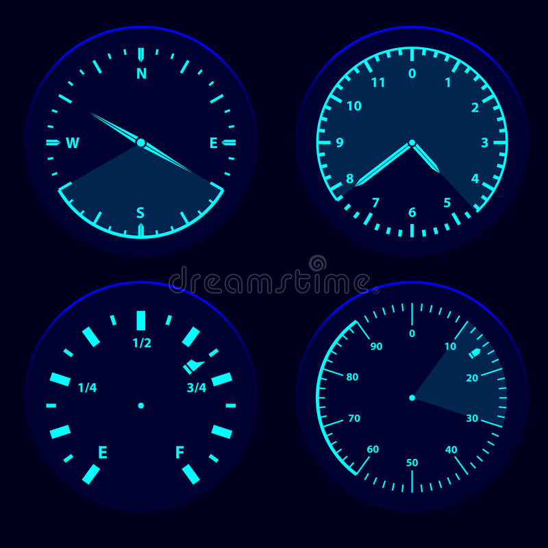 Futuristic user interface HUD. Futuristic blue gauge dashboard touch user interface HUD stock illustration